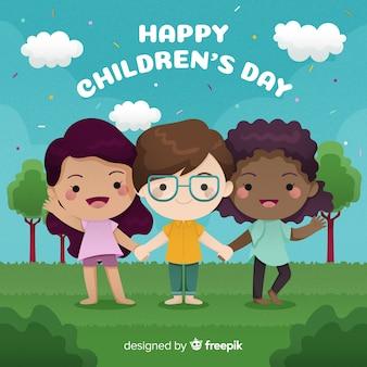 De dag kleurrijke illustratie van internationale kinderen