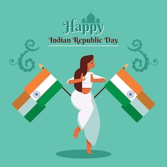 De dag plat ontwerp van de indiase republiek