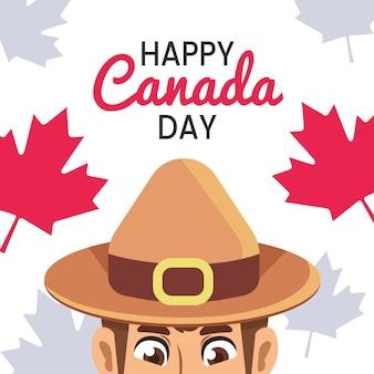 De dag van canada met parkwachter en esdoornblad