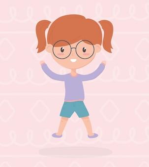 De dag van de gelukkige kinderen, schattig meisje draagt een bril handen omhoog viering vector illustratie