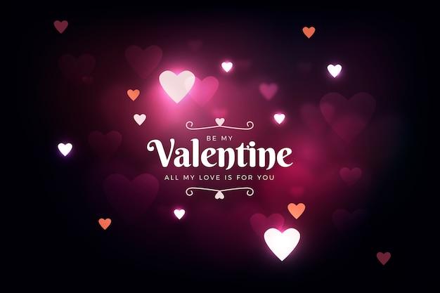 De dag van de gelukkige valentijnskaart defocused achtergrond