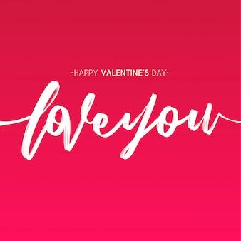 De dag van de gelukkige valentijnskaart met hand trekt liefdetekst