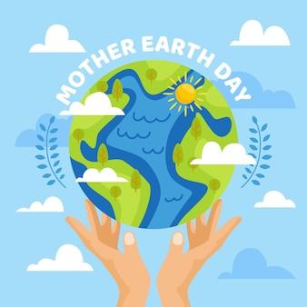 De dag van de moeder aarde vlak ontwerp als achtergrond