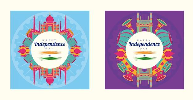 De dag van de onafhankelijkheid van india viering met pictogrammen in ronde kaders