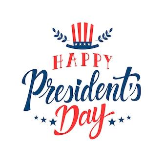 De dag van de president met hoed belettering