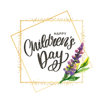 De dag van gelukkige kinderen, leuke vectorgroetkaart met grappige brieven
