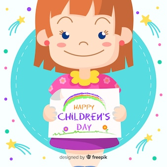 De dag van gelukkige kinderen met het leuke meisje glimlachen