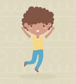 De dag van gelukkige kinderen, weinig afro-amerikaanse jongen die handen omhoog vectorillustratie viert