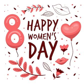 De dag van gelukkige vrouwen met bloemen en ballon