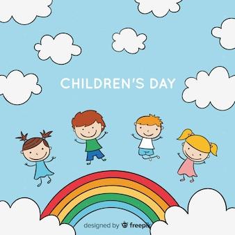 De dag van kinderen achtergrondbeeldverhaalregenboog