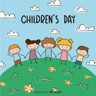 De dag van kinderen cartoon heuvel achtergrond