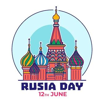 De dag van rusland met de kathedraal van heilige basilicum