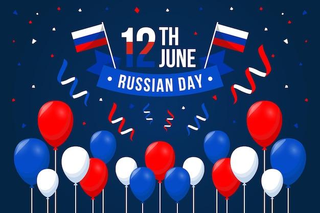 De dag van rusland vlak ontwerp als achtergrond