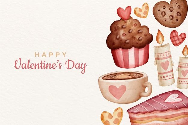De dag van valentijnskaarten achtergrond in aquarel