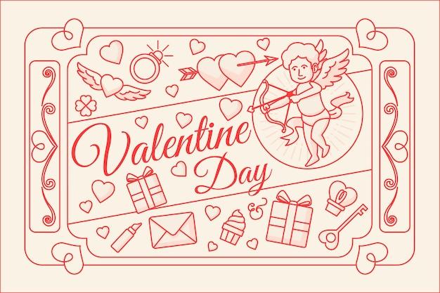 De dag van valentijnskaarten achtergrond in plat ontwerp