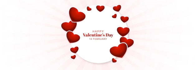 De dag van valentijnskaarten banner met harten frame