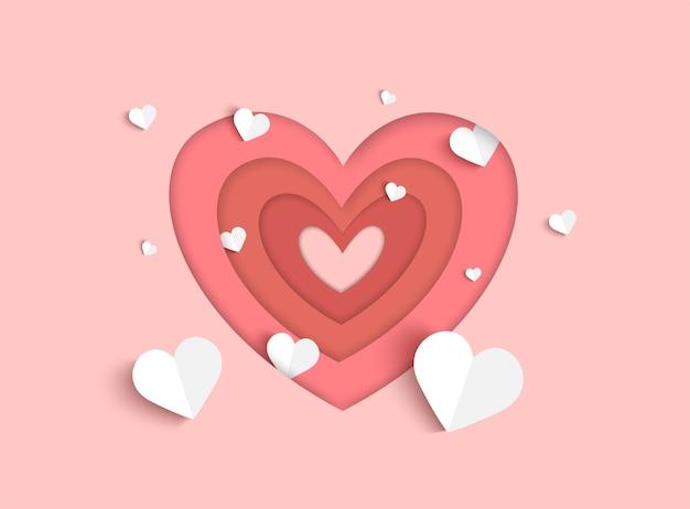 De dag van valentijnskaarten roze achtergrond met hartvorm