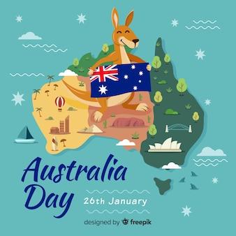 De dagachtergrond van australië met kangoeroe