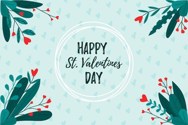De dagachtergrond van de gelukkige valentijnskaart met bloemen