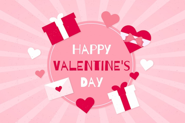 De dagachtergrond van de gelukkige valentijnskaart met roze giften