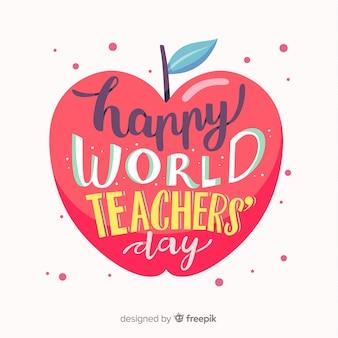 De dagachtergrond van de gelukkige wereldleraar met het van letters voorzien