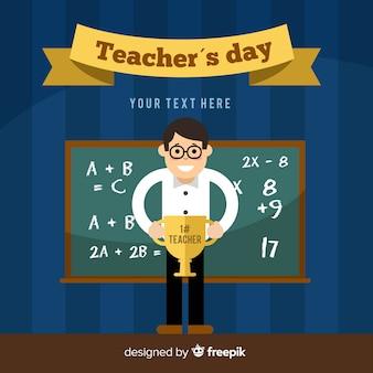 De dagachtergrond van de gelukkige wereldleraar met mannelijke leraar en bord