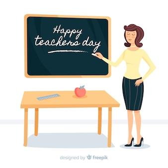 De dagachtergrond van de gelukkige wereldleraar met vrouwelijke leraar en bord