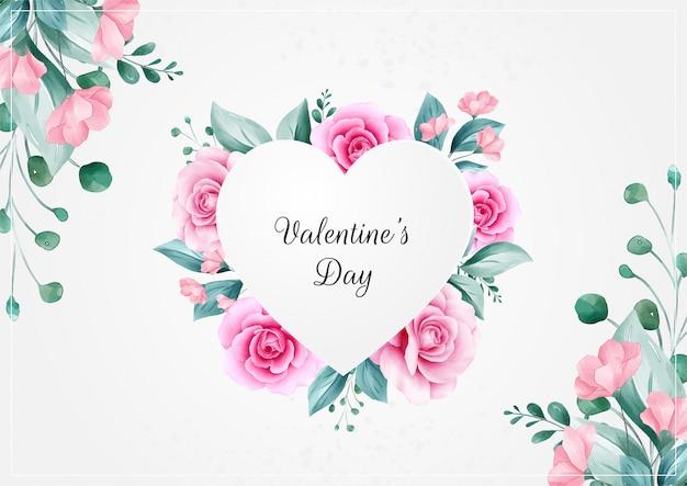 De dagachtergrond van de horizontale bloemenvalentijnskaart met hart bloemenframe