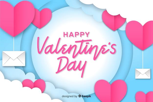 De dagachtergrond van de valentijnskaart met harten en enveloppen
