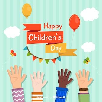 De dagachtergrond van gelukkige kinderen in vlak ontwerp met jonge geitjeshanden
