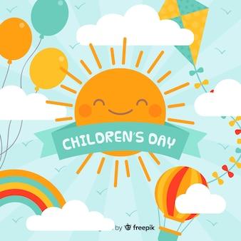 De dagachtergrond van gelukkige kinderen in vlak ontwerp Gratis Vector