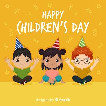 De dagachtergrond van gelukkige kinderen in vlak ontwerp