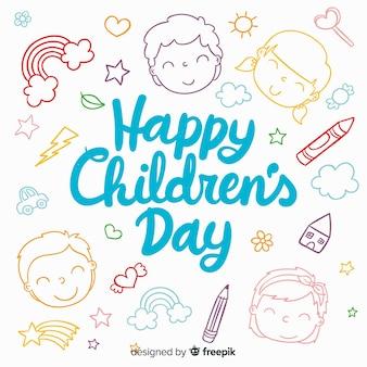 De dagachtergrond van gelukkige kinderen met het van letters voorzien