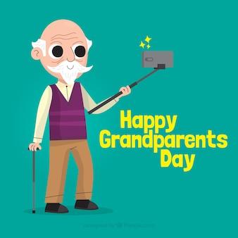 De dagachtergrond van grootouders met de mens die selfie nemen
