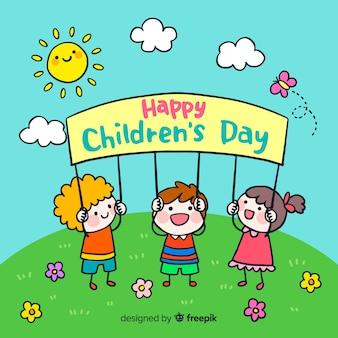 De dagachtergrond van kinderen met gelukkige zon