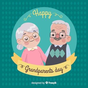 De dagachtergrond van leuke grootouders in vlak ontwerp
