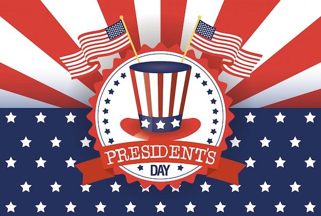 De dagaffiche van voorzitters met de vs tophat en vlaggen