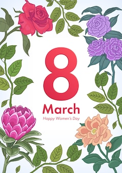 De dagaffiche van vrouwen met illustratie nummer 8 en bloementakken en bladeren