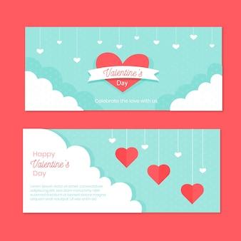 De dagbanner van de gelukkige valentijnskaart met harten in de hemel