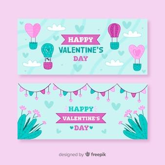 De dagbanner van de luchtballonhand getrokken de dag van de valentijnskaart