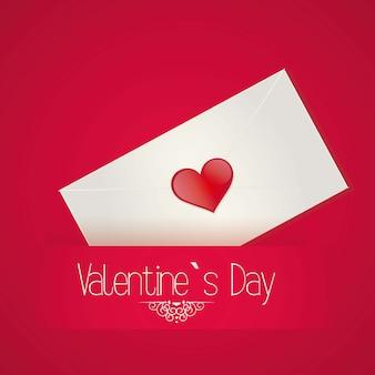 De dagbrief van valentine `s op rode vectorillustratie als achtergrond