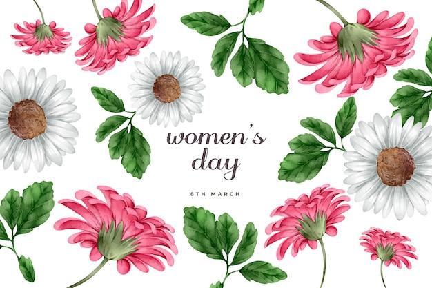 De dagconcept van waterverfvrouwen met bloemen