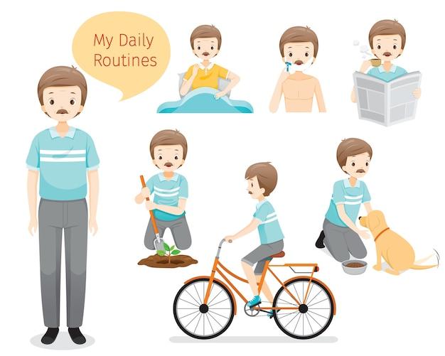 De dagelijkse routines van de oude man, verschillende activiteiten, ontspannen