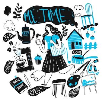De dagelijkse vrouw. verzameling van hand getrokken, vectorillustratie in schets doodle stijl.