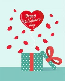 De daggroet van de valentijnskaart met een hartballon