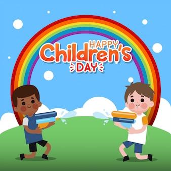 De dagillustratie van gelukkige kinderen