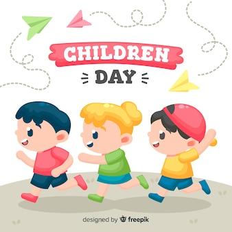 De dagillustratie van kinderen met vlak ontwerp