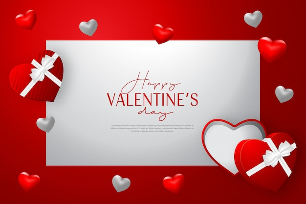 De dagkaart van de gelukkige valentijnskaart met open gift en de rode achtergrond van de liefdevorm