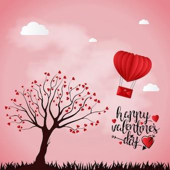 De dagkaart van de gelukkige valentijnskaart met roze achtergrond en boom