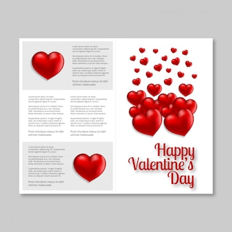 De dagkaart van gelukkig valentine met harten en lichte achtergrond
